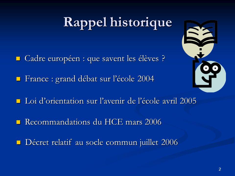 Rappel historique Cadre européen : que savent les élèves