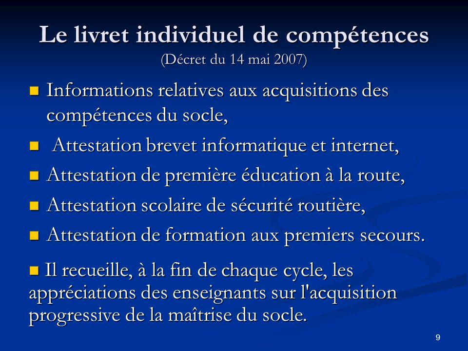 Le livret individuel de compétences (Décret du 14 mai 2007)