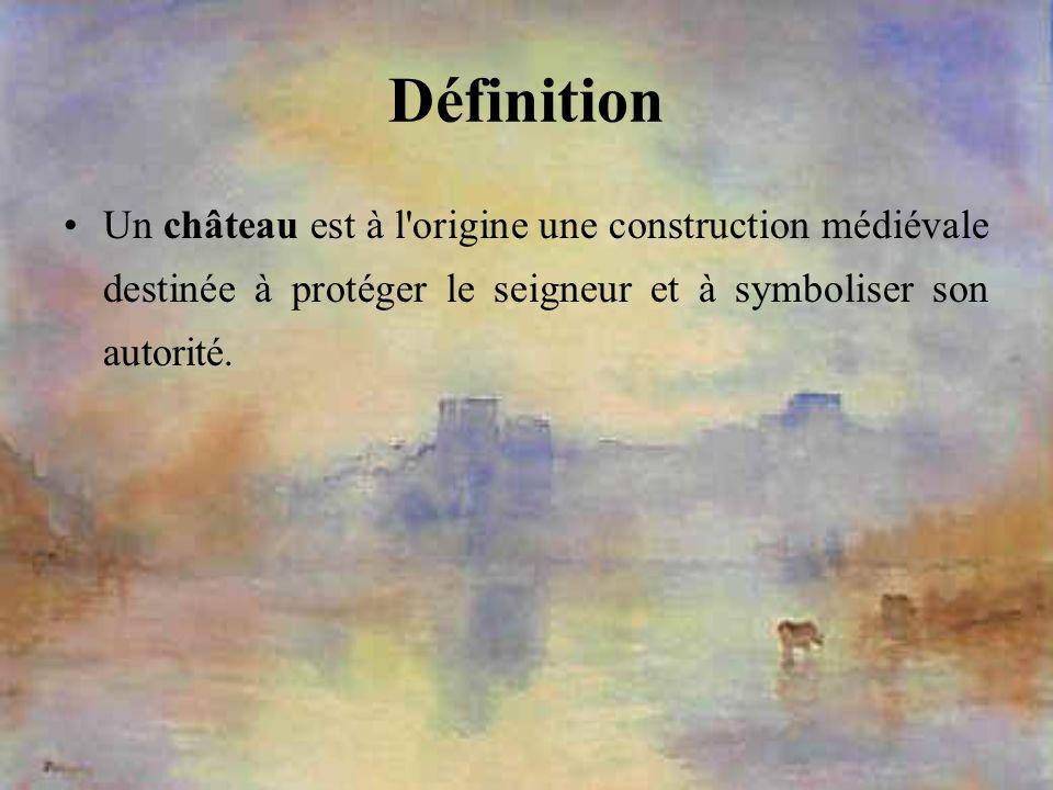 DéfinitionUn château est à l origine une construction médiévale destinée à protéger le seigneur et à symboliser son autorité.