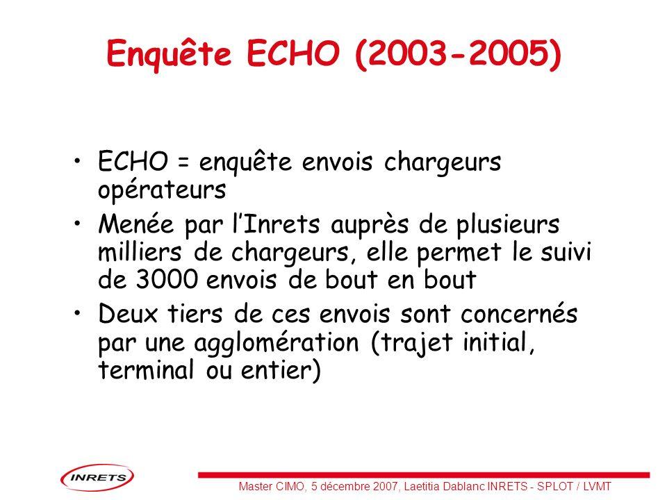 Enquête ECHO (2003-2005) ECHO = enquête envois chargeurs opérateurs