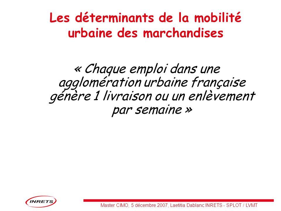 Les déterminants de la mobilité urbaine des marchandises