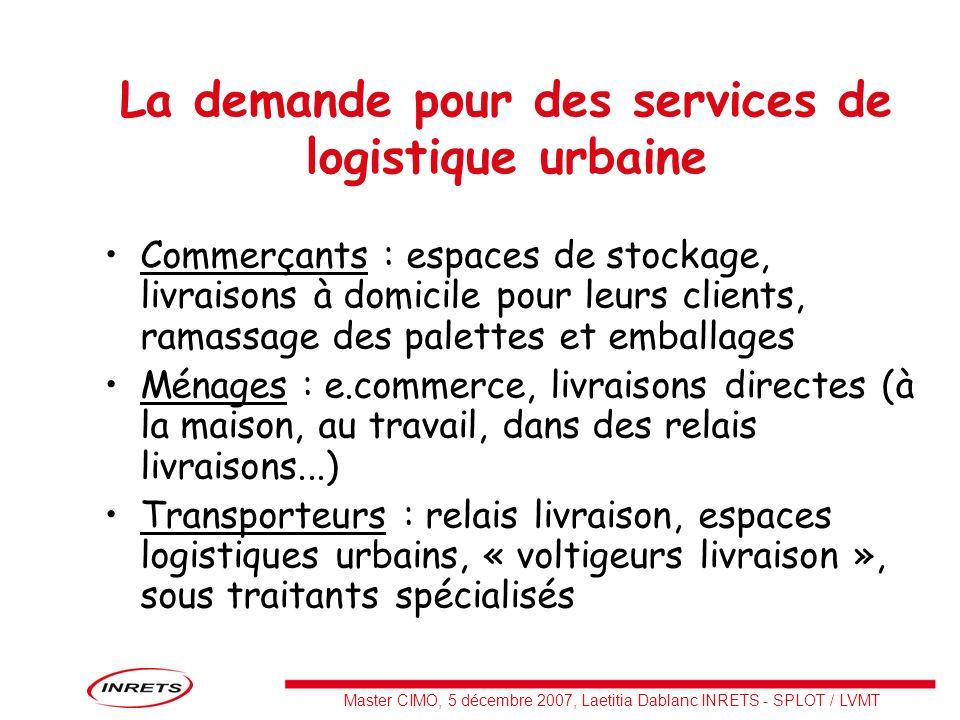La demande pour des services de logistique urbaine