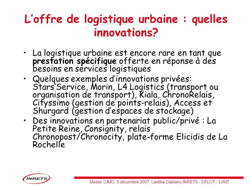 L'offre de logistique urbaine : quelles innovations
