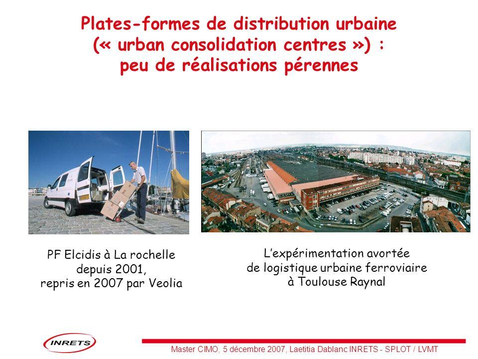 Plates-formes de distribution urbaine (« urban consolidation centres ») : peu de réalisations pérennes