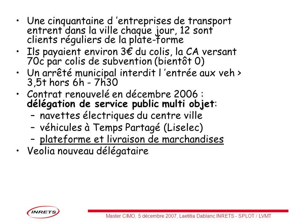 Une cinquantaine d 'entreprises de transport entrent dans la ville chaque jour, 12 sont clients réguliers de la plate-forme