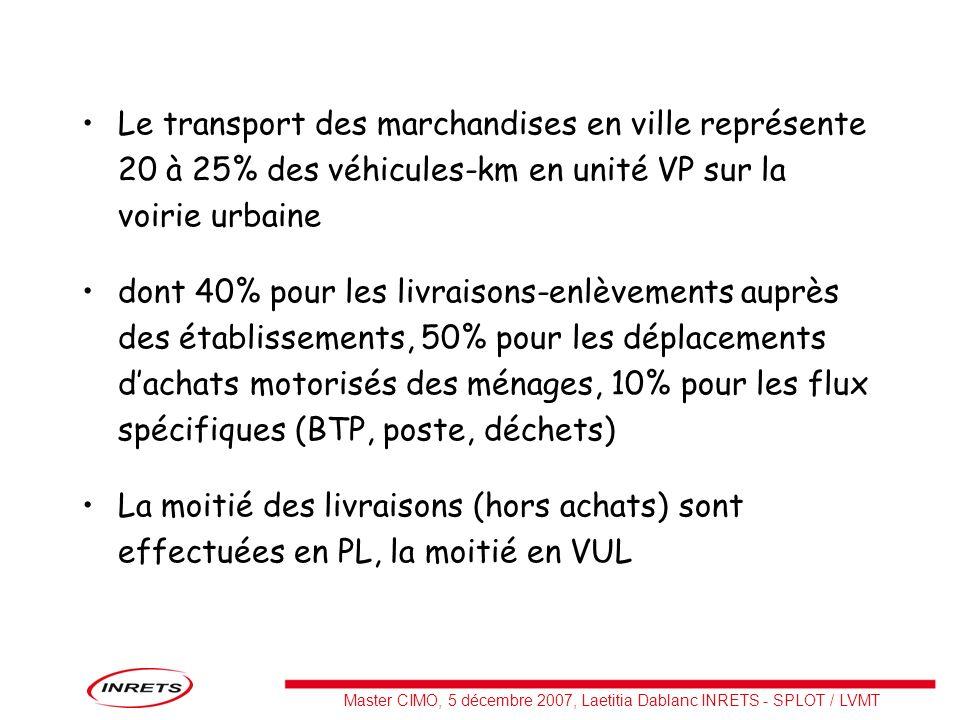 Le transport des marchandises en ville représente 20 à 25% des véhicules-km en unité VP sur la voirie urbaine