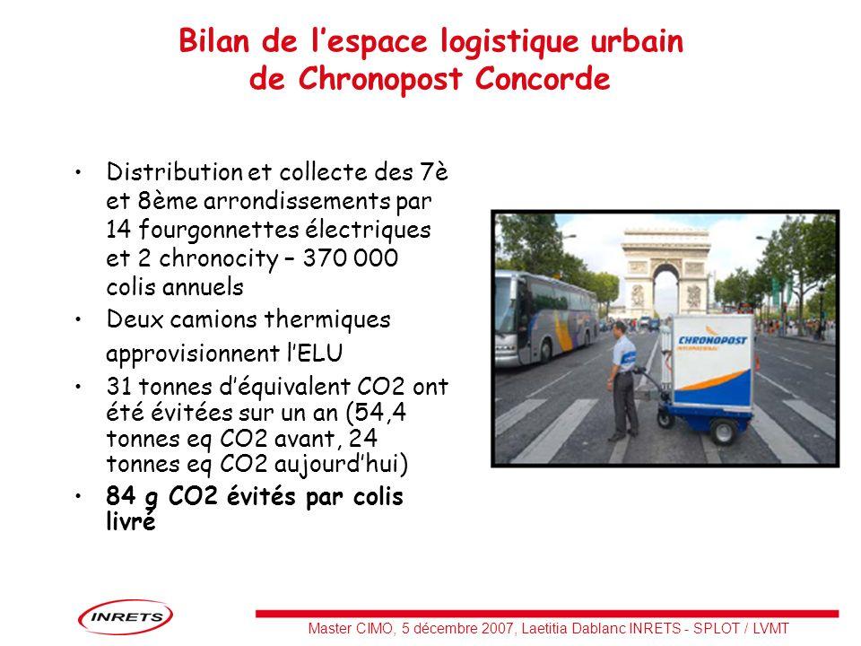 Bilan de l'espace logistique urbain de Chronopost Concorde