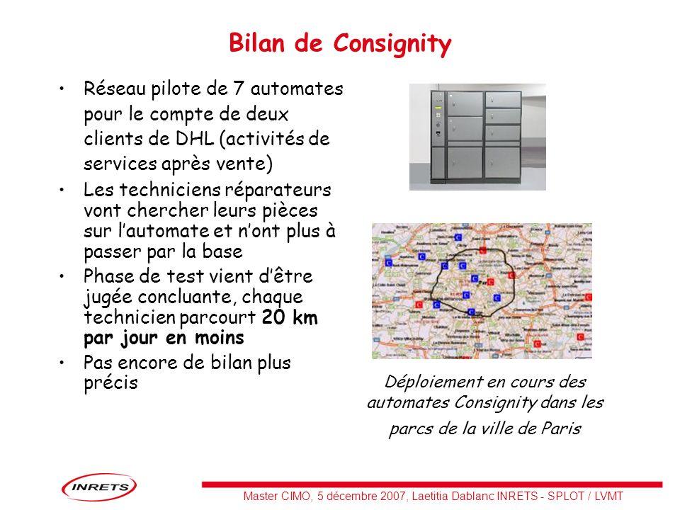 Bilan de Consignity Réseau pilote de 7 automates pour le compte de deux clients de DHL (activités de services après vente)