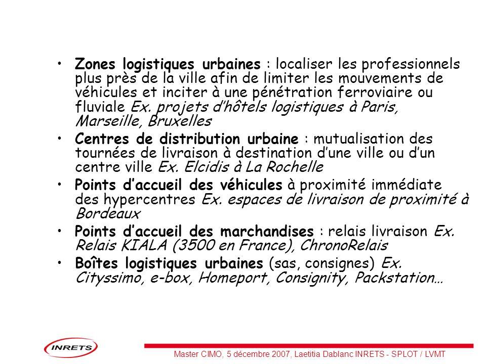 Zones logistiques urbaines : localiser les professionnels plus près de la ville afin de limiter les mouvements de véhicules et inciter à une pénétration ferroviaire ou fluviale Ex. projets d'hôtels logistiques à Paris, Marseille, Bruxelles