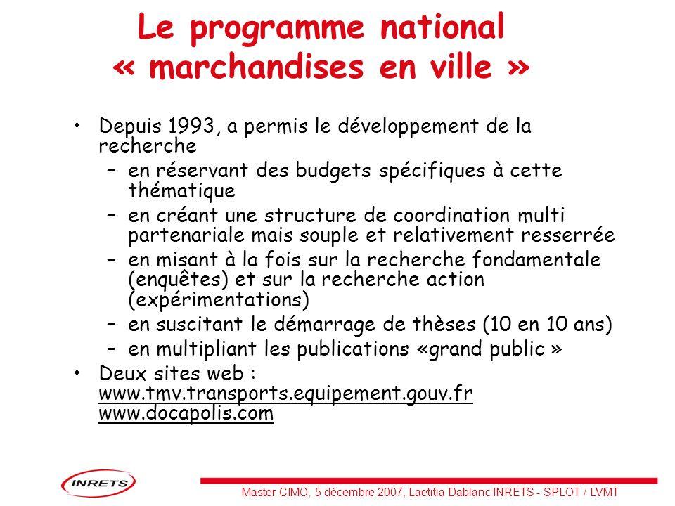 Le programme national « marchandises en ville »