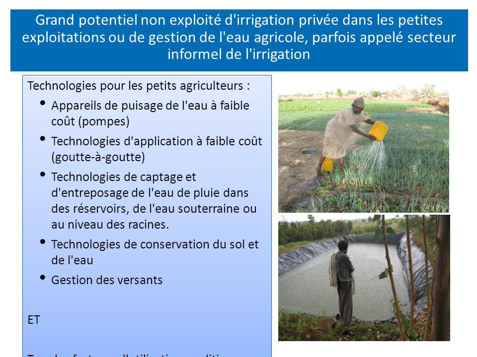 Grand potentiel non exploité d irrigation privée dans les petites exploitations ou de gestion de l eau agricole, parfois appelé secteur informel de l irrigation