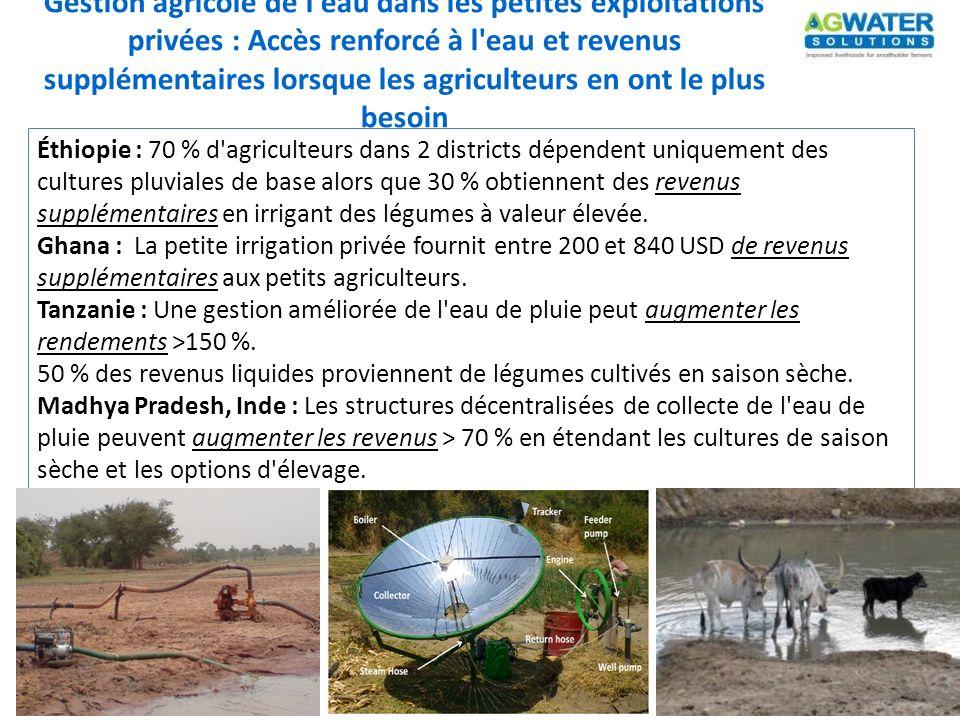 Gestion agricole de l eau dans les petites exploitations privées : Accès renforcé à l eau et revenus supplémentaires lorsque les agriculteurs en ont le plus besoin