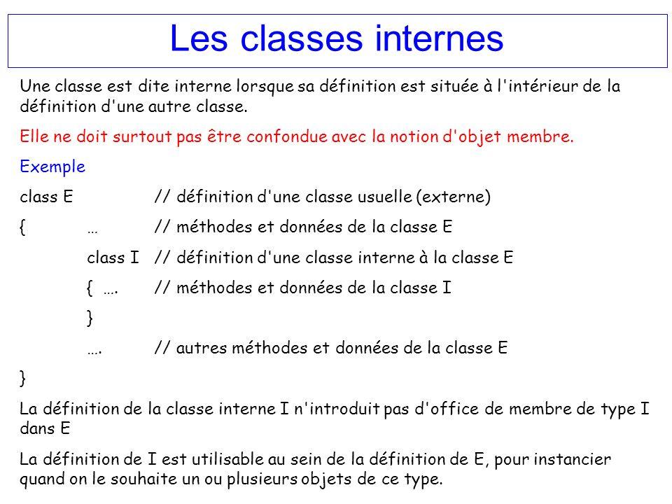 Les classes internes Une classe est dite interne lorsque sa définition est située à l intérieur de la définition d une autre classe.