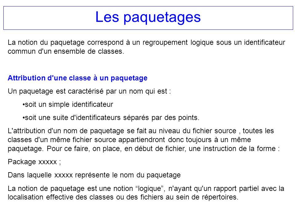 Les paquetages La notion du paquetage correspond à un regroupement logique sous un identificateur commun d un ensemble de classes.