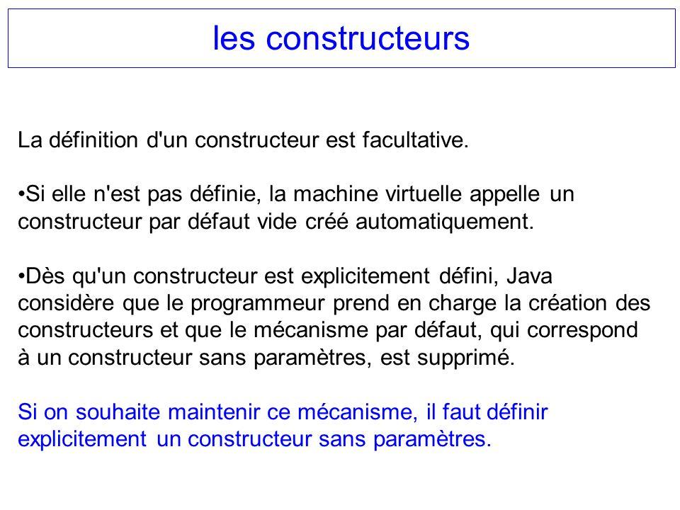 les constructeurs La définition d un constructeur est facultative.
