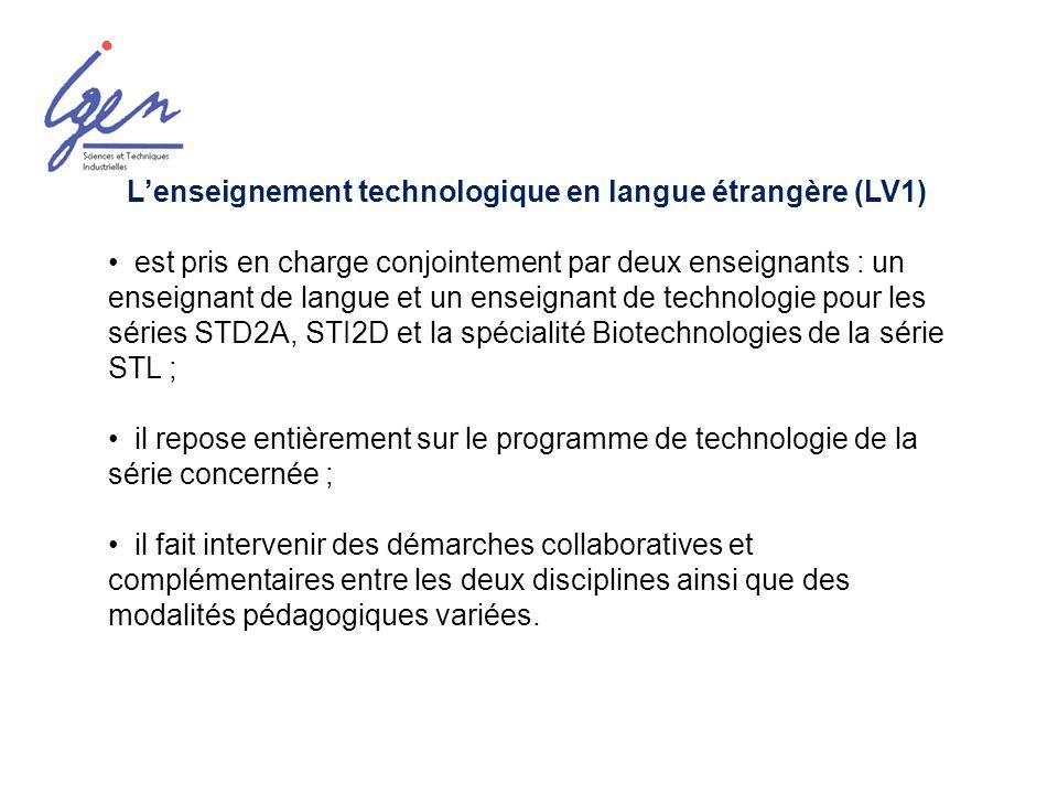 L'enseignement technologique en langue étrangère (LV1)