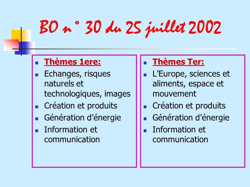 BO n° 30 du 25 juillet 2002 Thèmes 1ere: