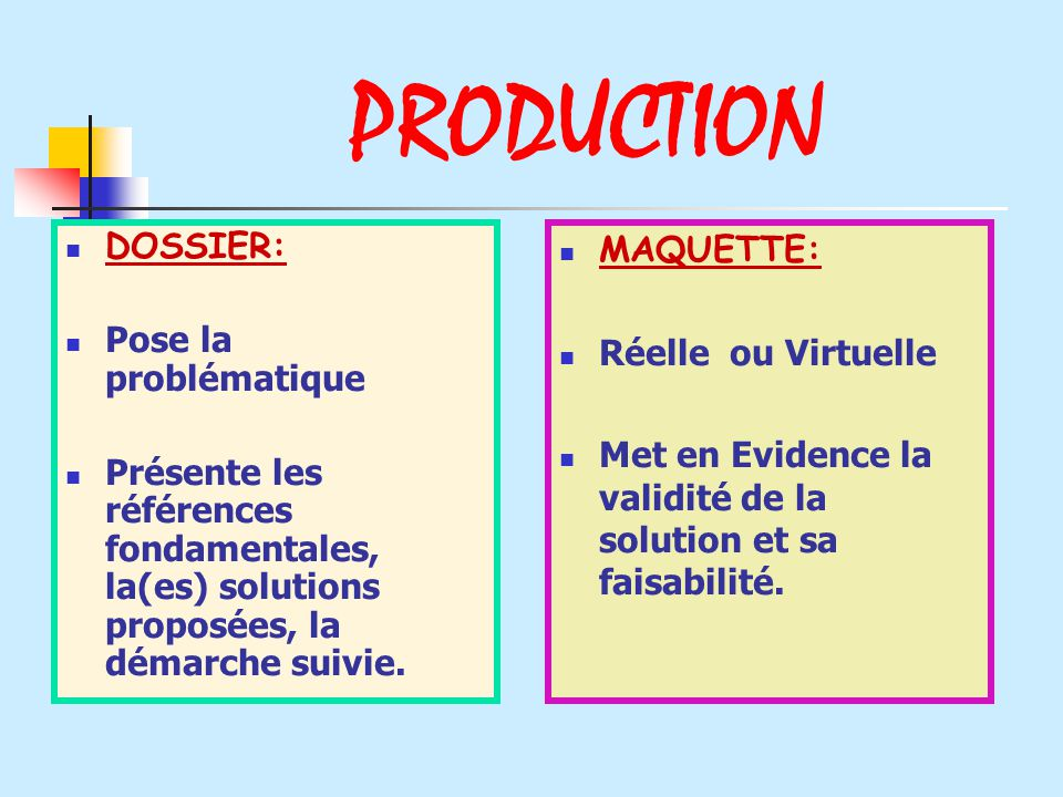 PRODUCTION DOSSIER: Pose la problématique