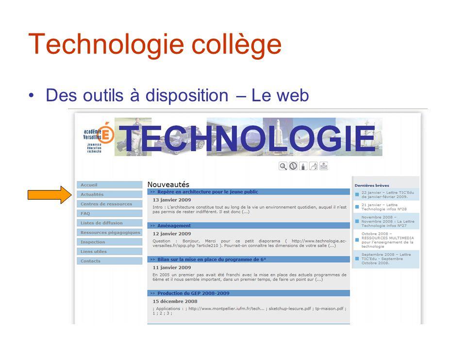 Technologie collège Des outils à disposition – Le web