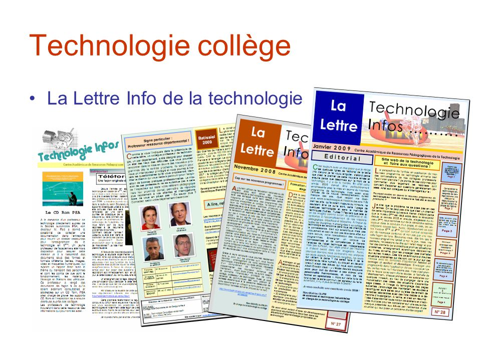 Technologie collège La Lettre Info de la technologie