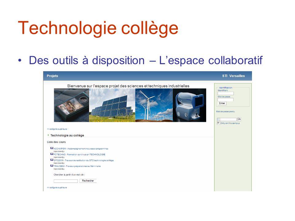 Technologie collège Des outils à disposition – L'espace collaboratif