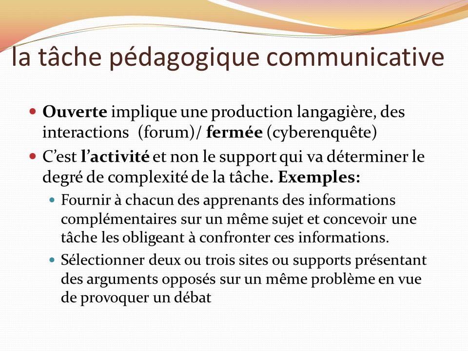 la tâche pédagogique communicative