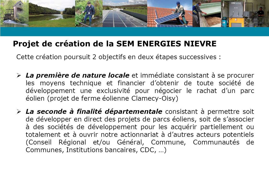 Projet de création de la SEM ENERGIES NIEVRE
