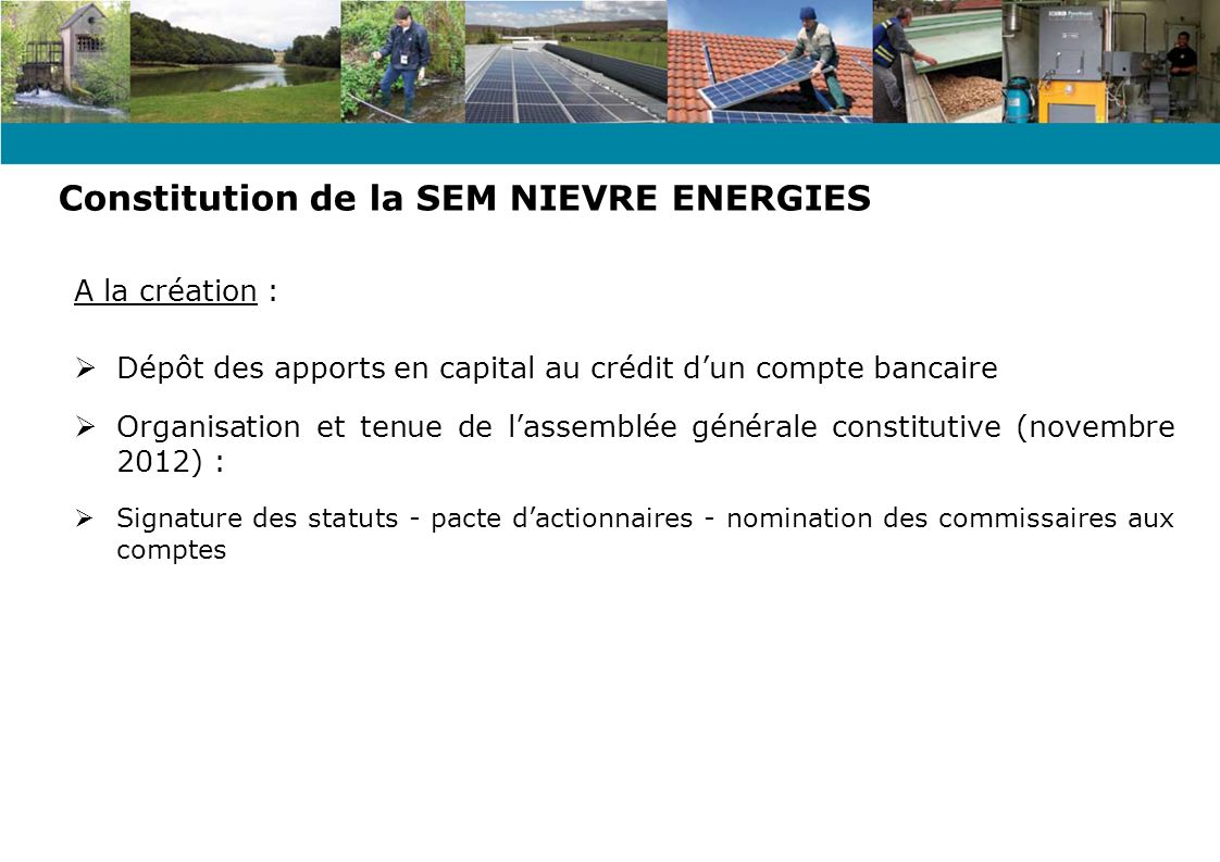 Constitution de la SEM NIEVRE ENERGIES