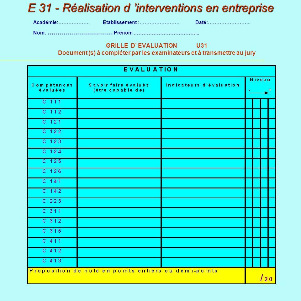 E 31 - Réalisation d 'interventions en entreprise