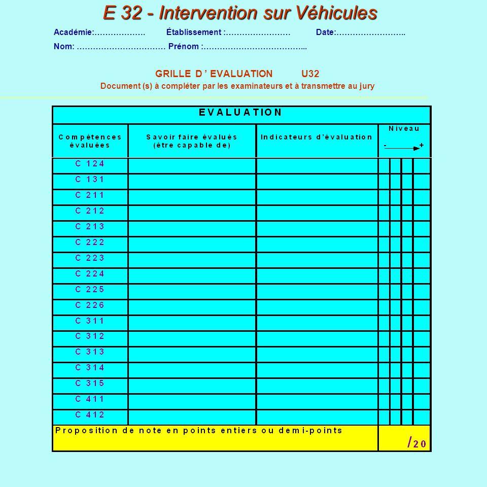 E 32 - Intervention sur Véhicules