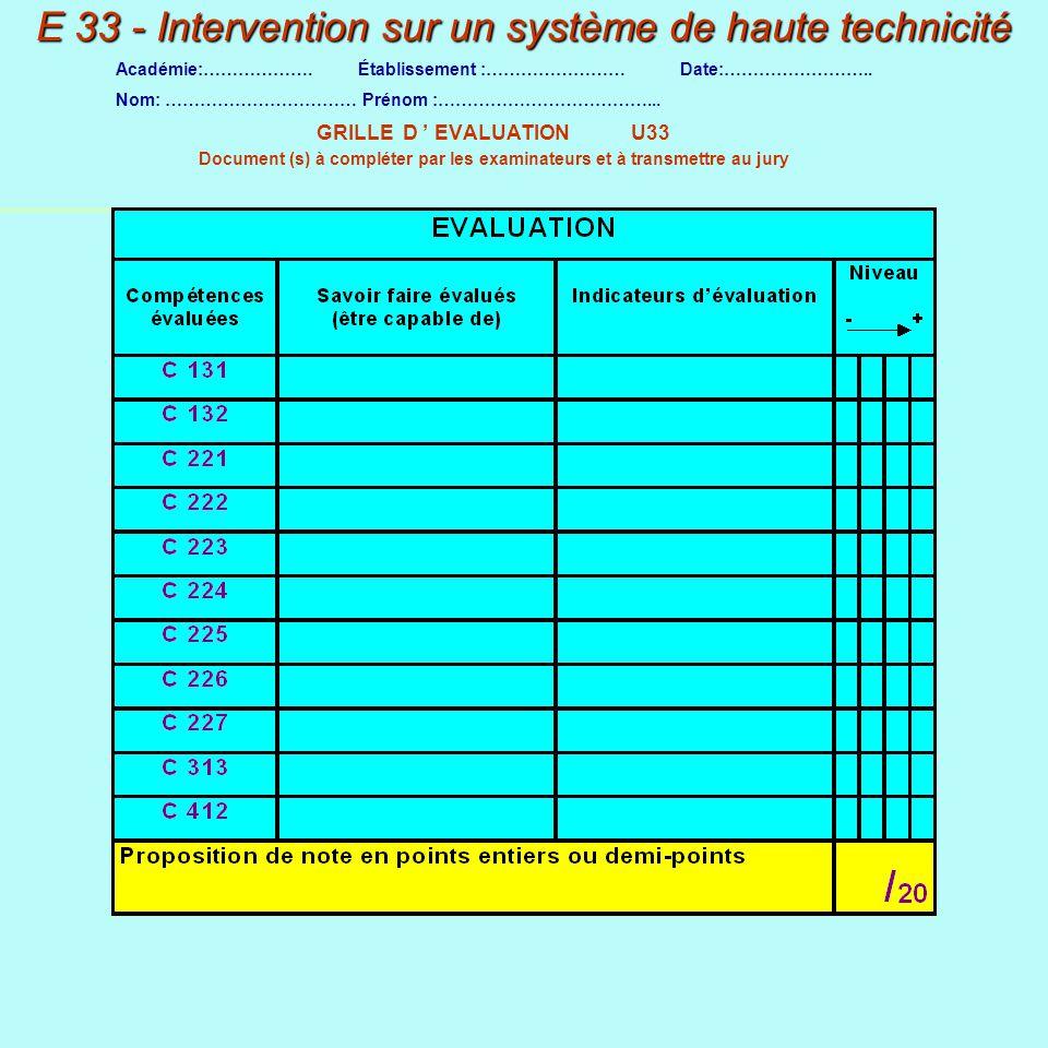 E 33 - Intervention sur un système de haute technicité