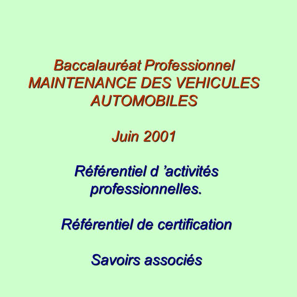 Baccalauréat Professionnel MAINTENANCE DES VEHICULES AUTOMOBILES Juin 2001