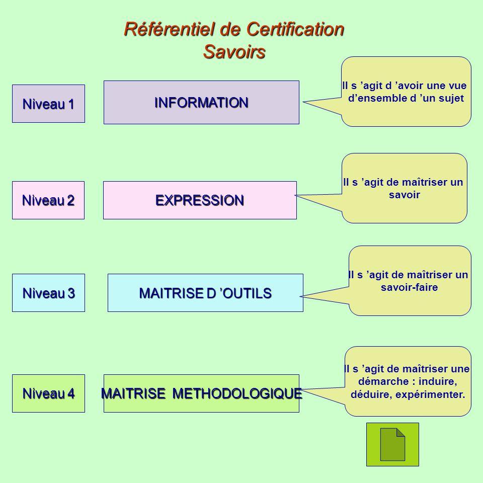 Référentiel de Certification Savoirs