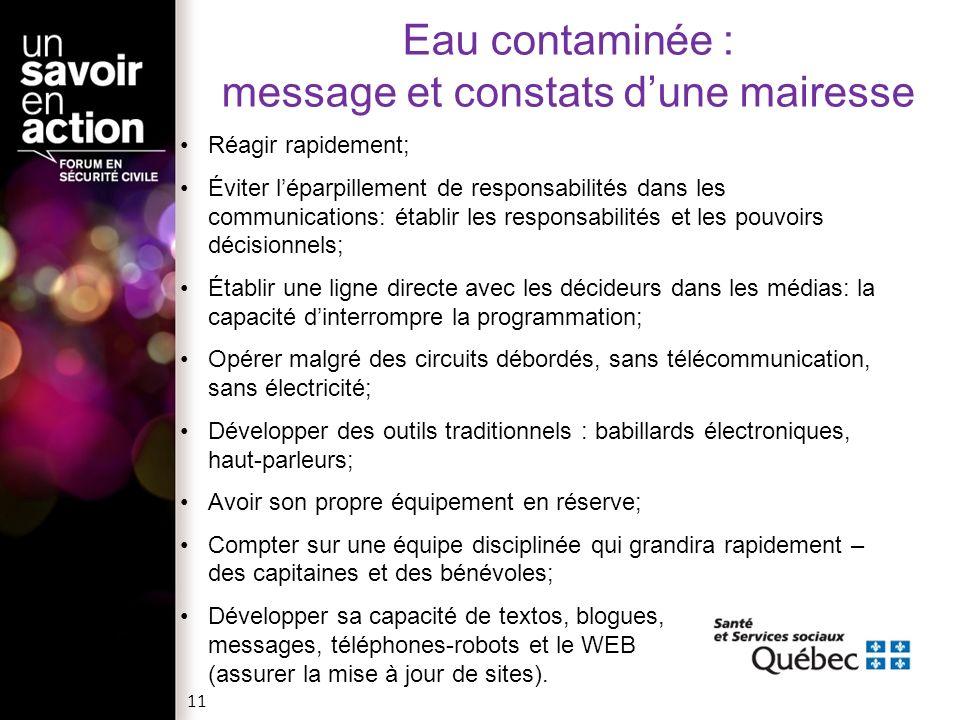 Eau contaminée : message et constats d'une mairesse