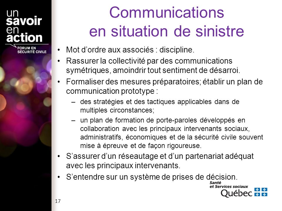 Communications en situation de sinistre