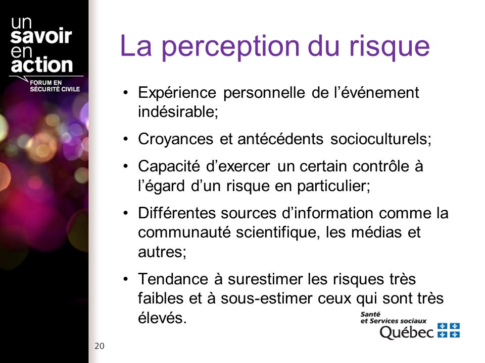 La perception du risque