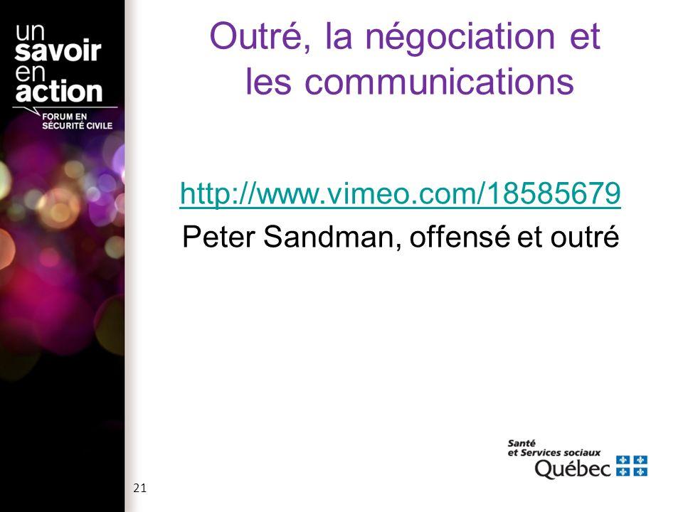 Outré, la négociation et les communications