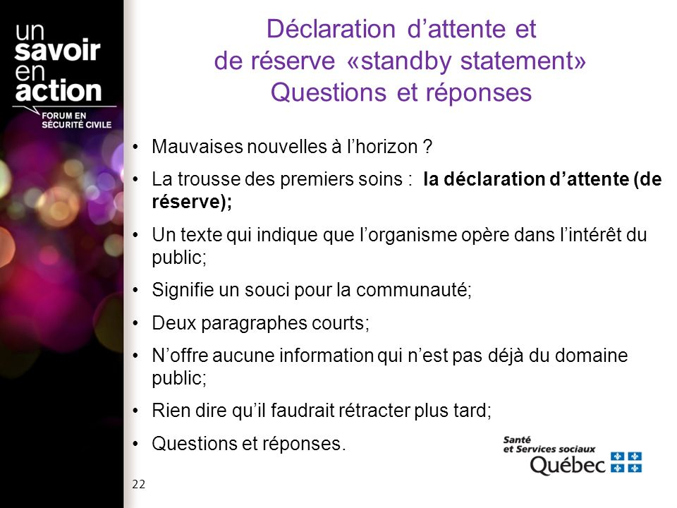Déclaration d'attente et de réserve «standby statement» Questions et réponses