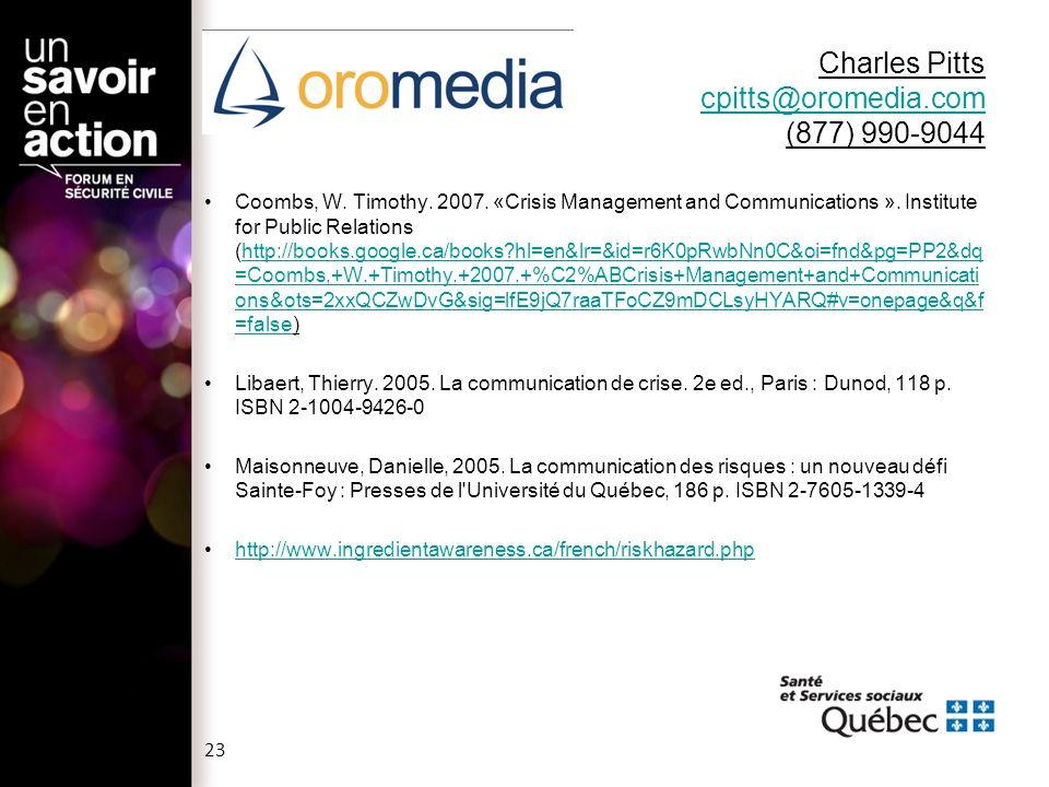 Charles Pitts cpitts@oromedia.com (877) 990-9044
