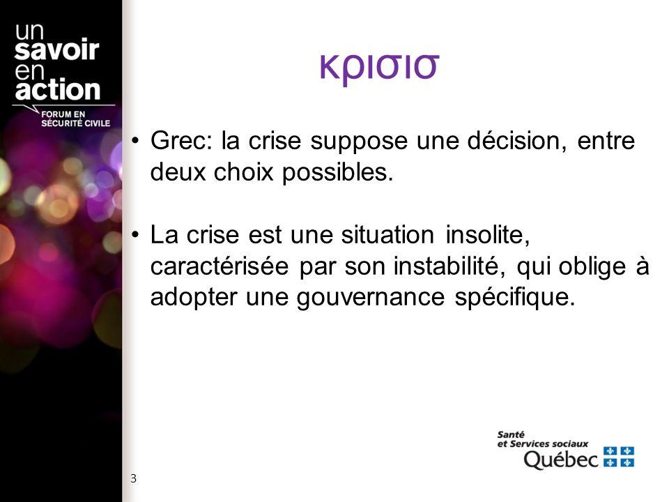 κρισισ Grec: la crise suppose une décision, entre deux choix possibles.