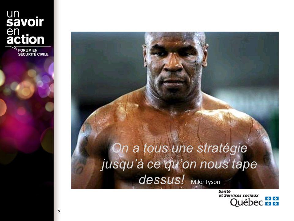 On a tous une stratégie jusqu'à ce qu'on nous tape dessus! Mike Tyson