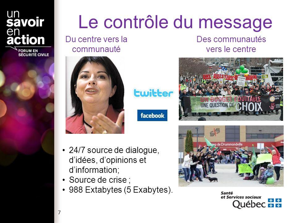 Le contrôle du message Du centre vers la communauté
