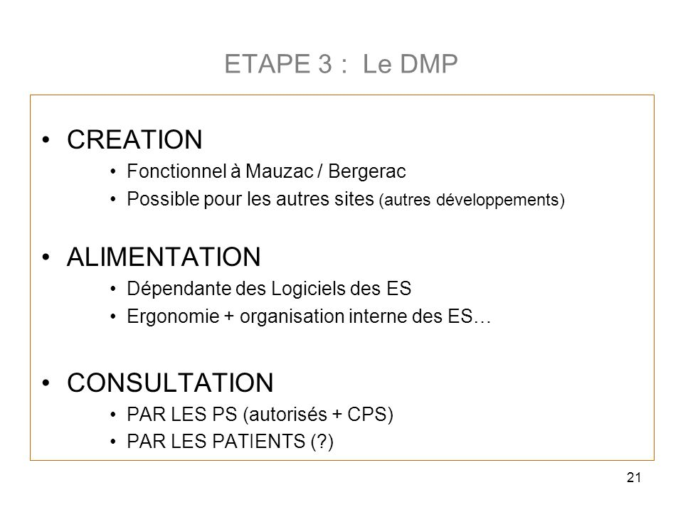 ETAPE 3 : Le DMP CREATION ALIMENTATION CONSULTATION