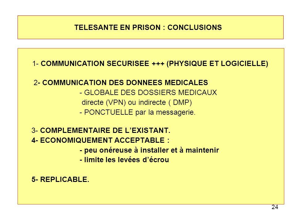 TELESANTE EN PRISON : CONCLUSIONS