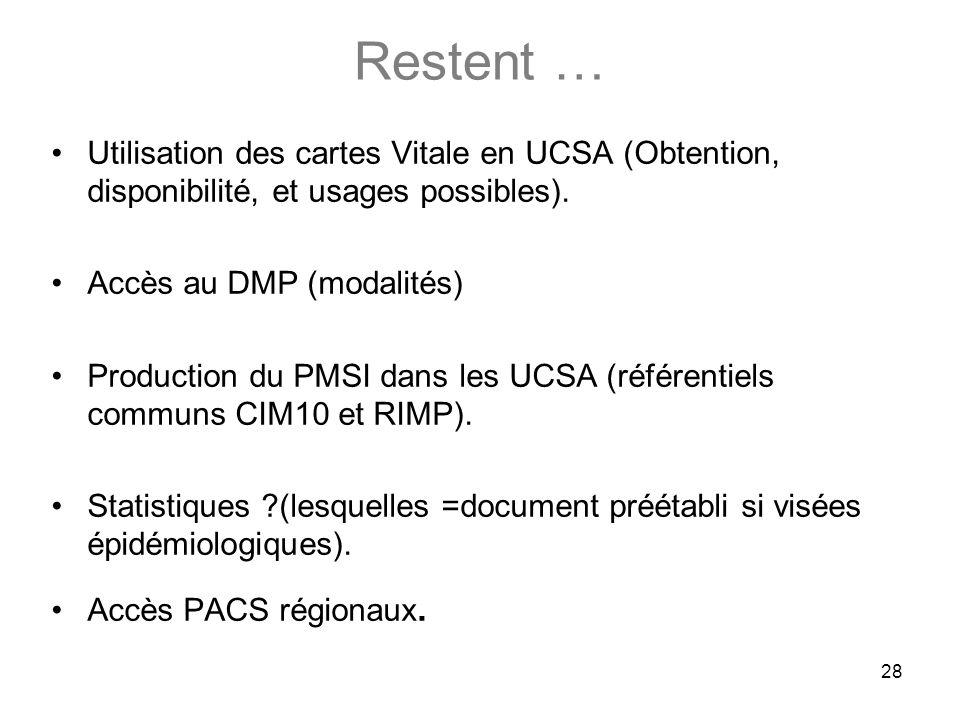 Restent …Utilisation des cartes Vitale en UCSA (Obtention, disponibilité, et usages possibles). Accès au DMP (modalités)