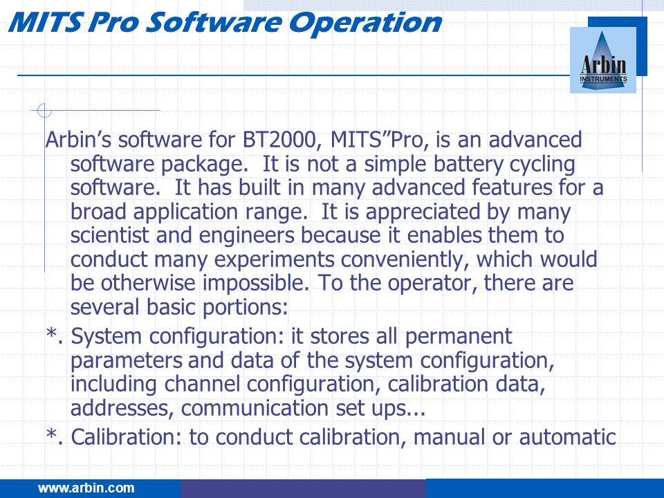 MITS Pro Software Operation