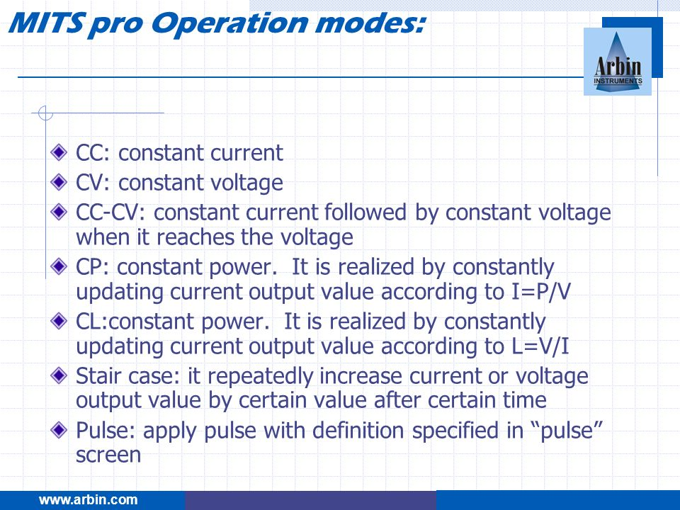 MITS pro Operation modes: