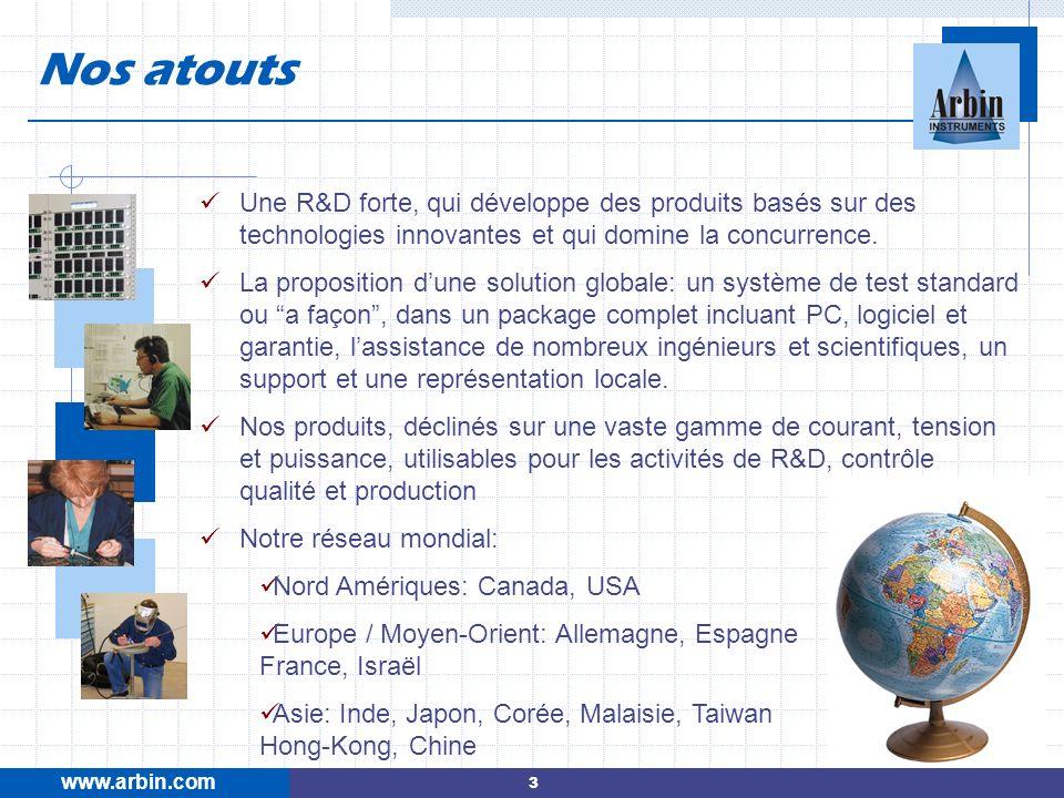 www.arbin.com Nos atouts. Une R&D forte, qui développe des produits basés sur des technologies innovantes et qui domine la concurrence.