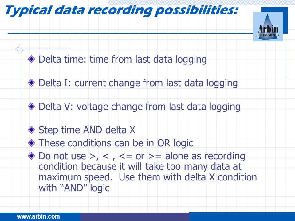 Typical data recording possibilities: