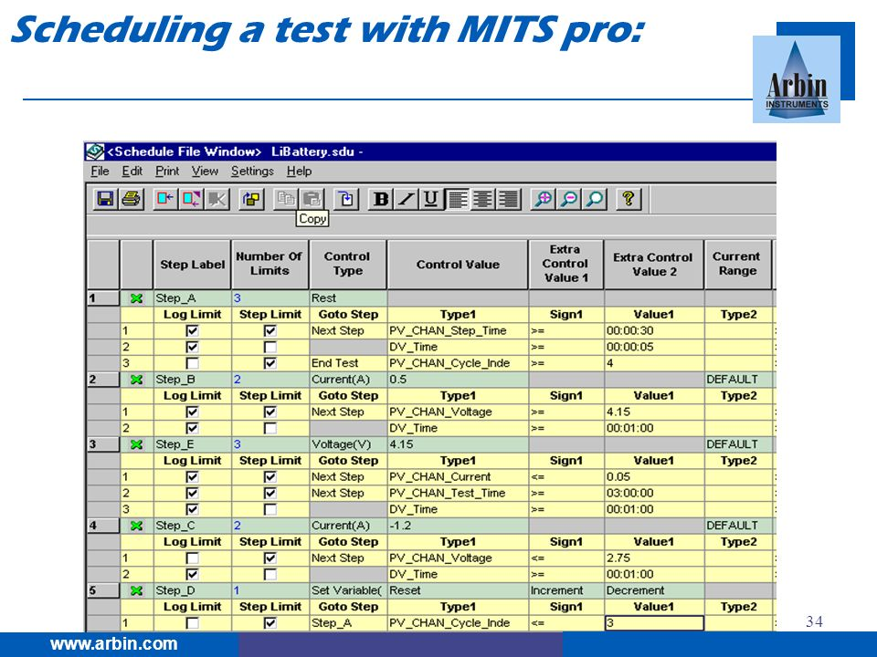 Scheduling a test with MITS pro: